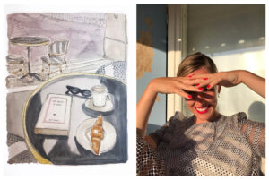 Left: A watercolor painting of a croissant, coffee, and book on top of a table at a café with another table and chairs in the background. Right: A woman smiling as she shields her eyes from the sun with both hands.