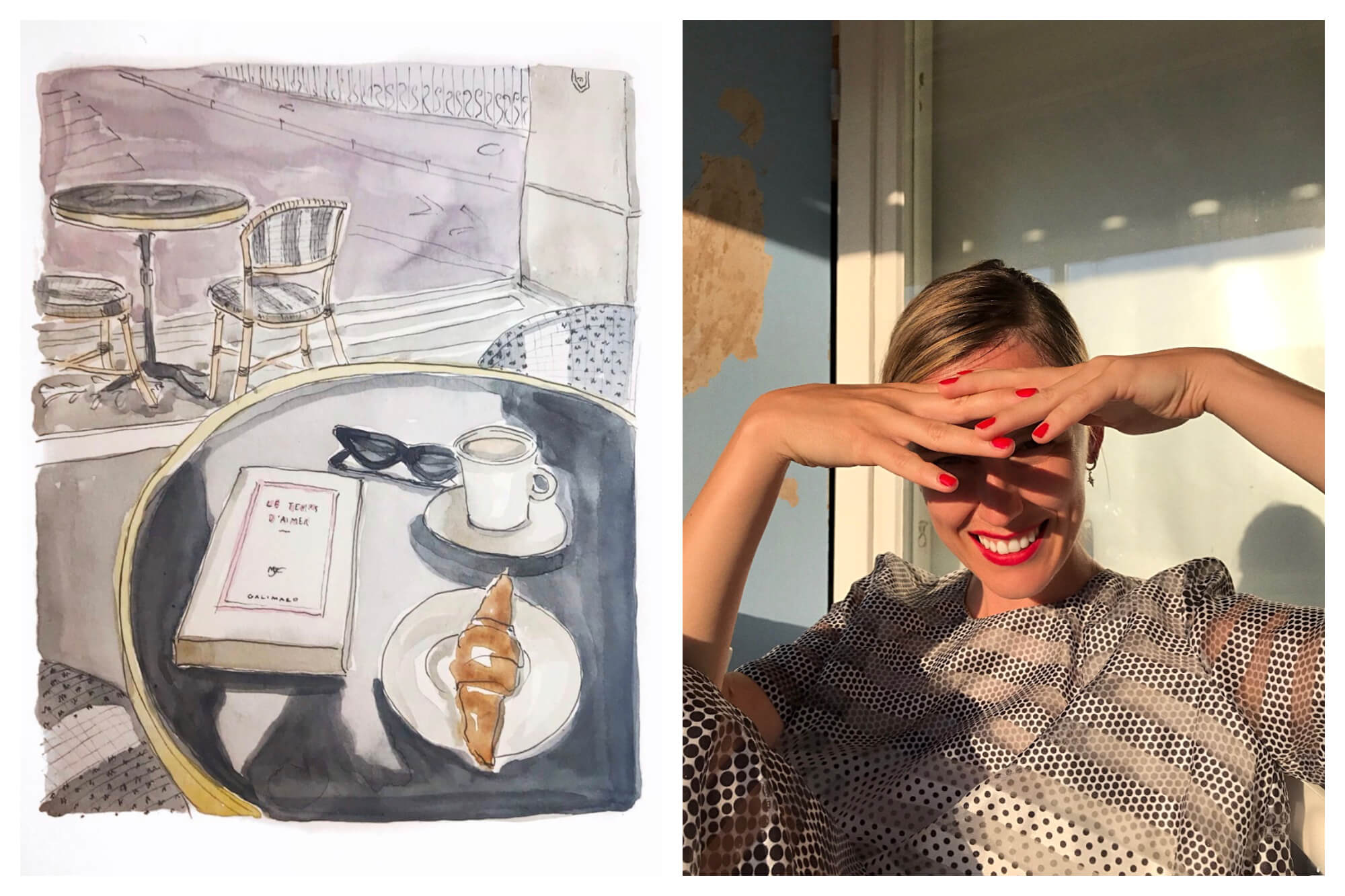 Left: A watercolor painting of a croissant, coffee, and book on top of a table at a café with another table and chairs in the background. Right: Lina Nordin Gee smiling as she shields her eyes from the sun with both hands after enjoying a perfect day in Paris.