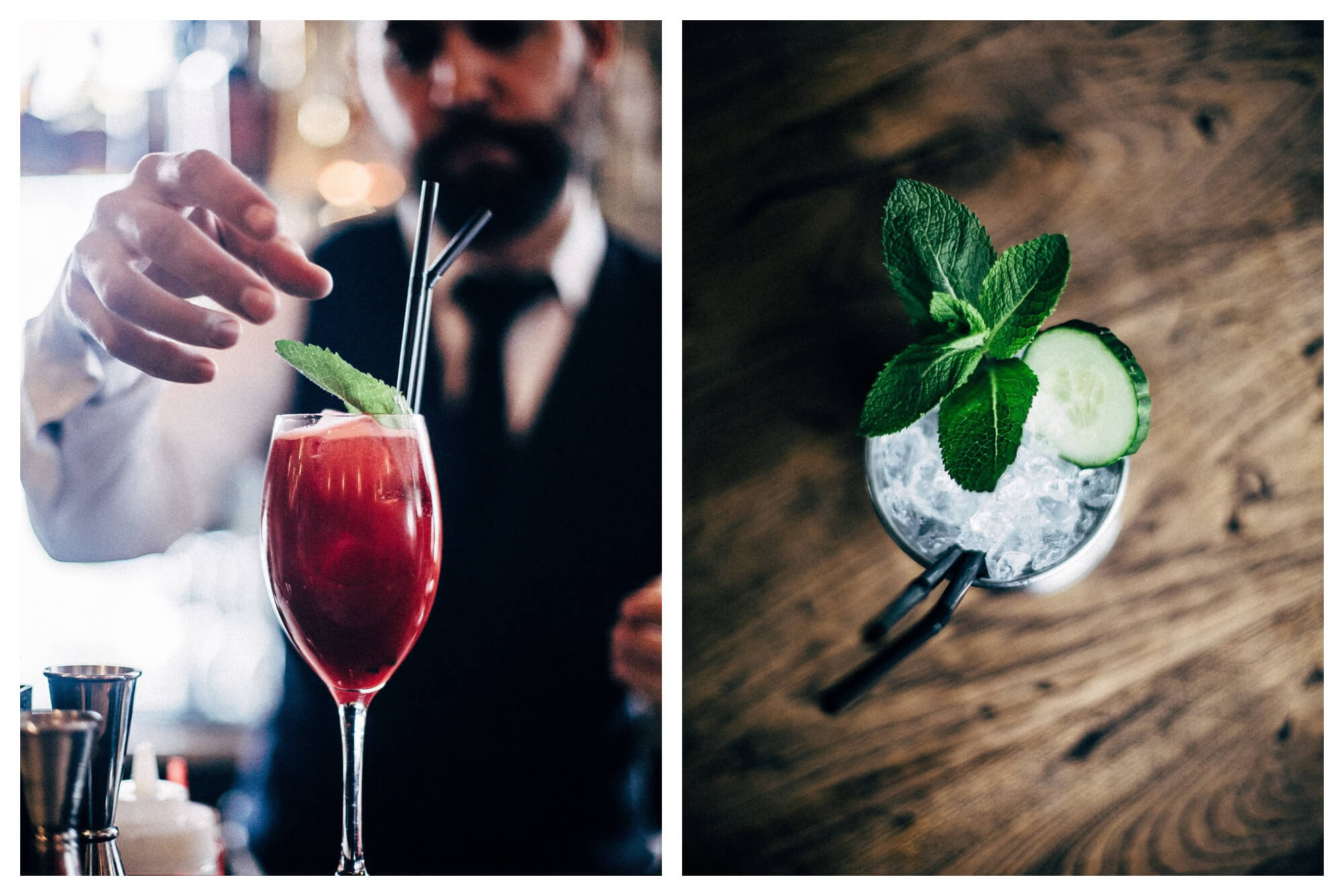Left: A man preparing a red cocktail with a mint herb leaf, a straw, and a stirrer. Right: View of a cocktail with mint leaves and a cucumber on a table from above.