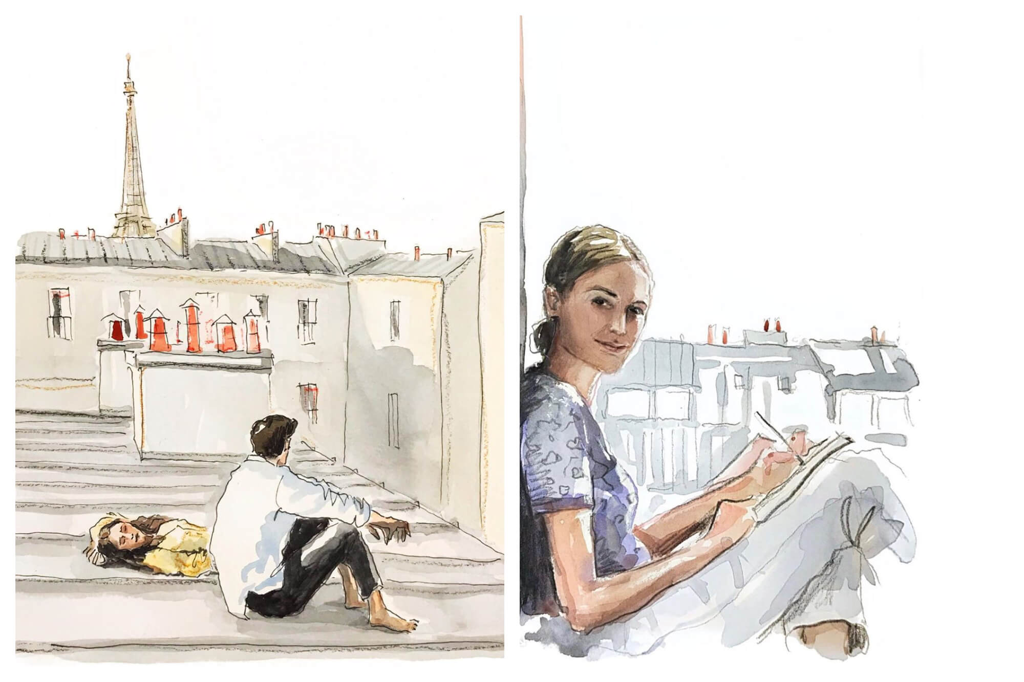 Left: A watercolor painting of a man sitting on a roof with a woman laying next to him with the Eiffel Tower in the background. Right: A watercolor painting of a woman smiling while she paints with gray rooftops behind her.