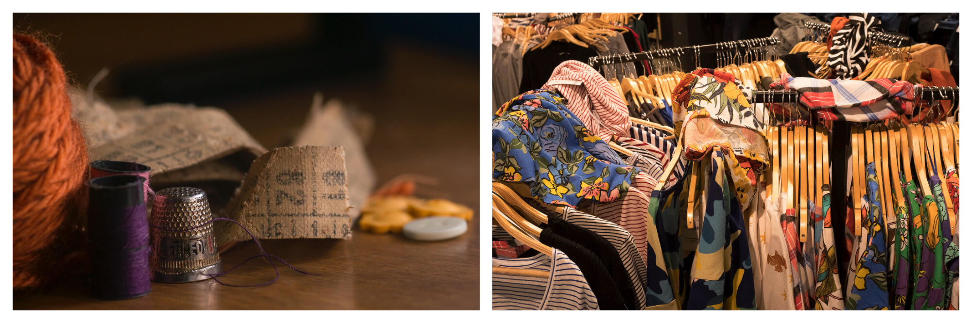 Left: a ball of orange yarn, an old tan colored tape measure, a few buttons, and a few spools of thread, all sat on a wooden table.  Right: racks of brightly colored tshirts, dozens hung neatly with several strewn messily on top.