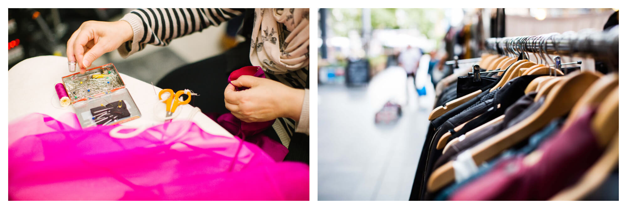 Left: A seamstress, whose face is not visible, sews some fuschia coloured chiffon material, with scissors sat in front of her, and a box of needles and a spool of thread.   Right: a rack of second hand clothes at an outdoor flea market.
