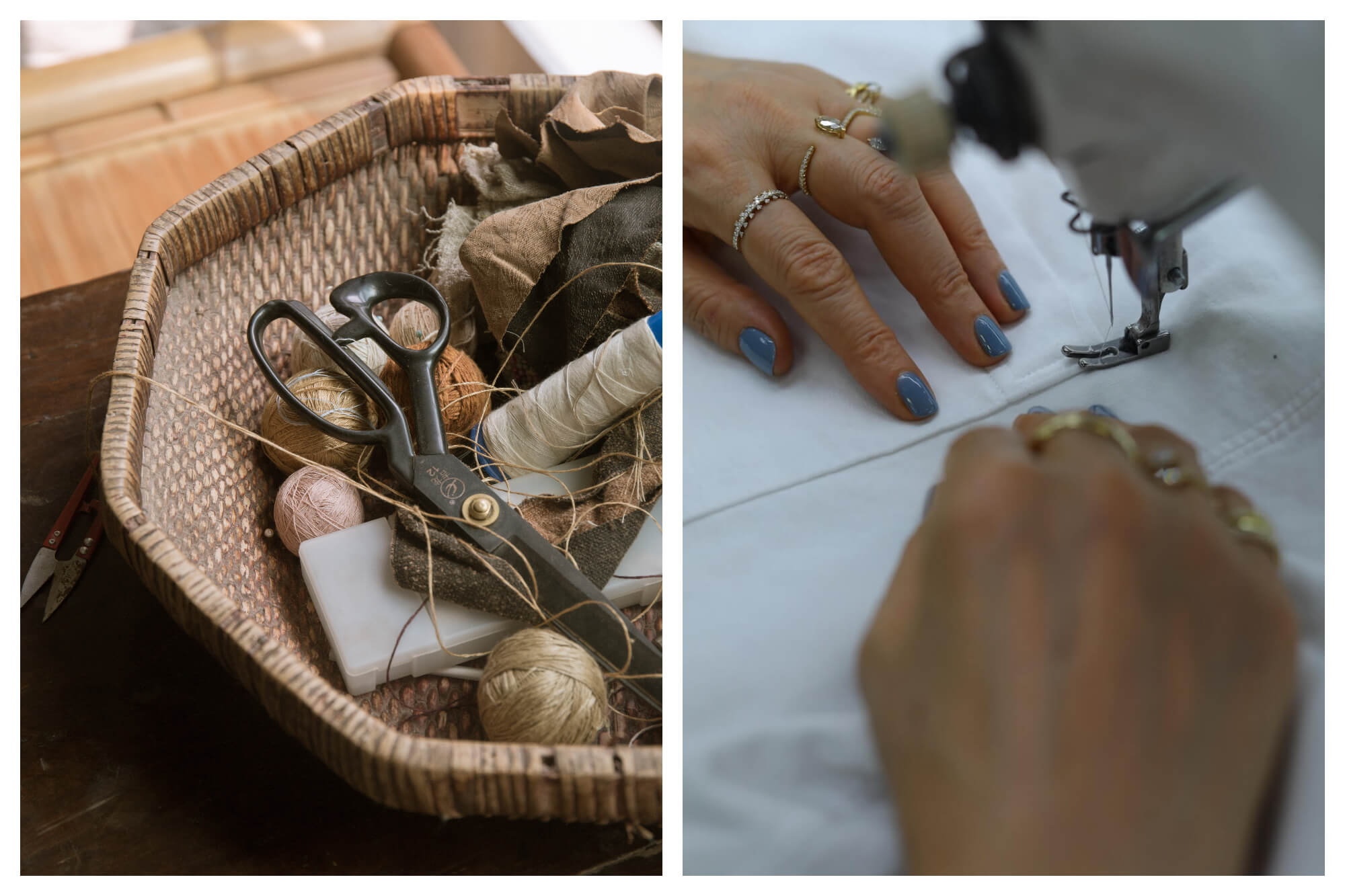 Left: a basket full of beige, orange and pink thread, a pair of black scissors, and scraps of brown fabrick.   Right: a woman's hands with blue painted fingernails sews a white cloth at a sewing machine.