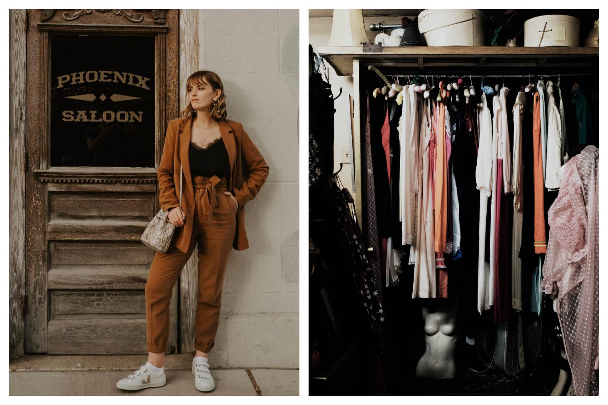 Left: a woman with shoulder length brown hair wears a brown trousers and blazer with a black camisole, and white sneakers. She stands next to a rustic door bearing the workds Phoenix Saloon.  Right: the interior of a small closet with assorted women's clothes hanging.