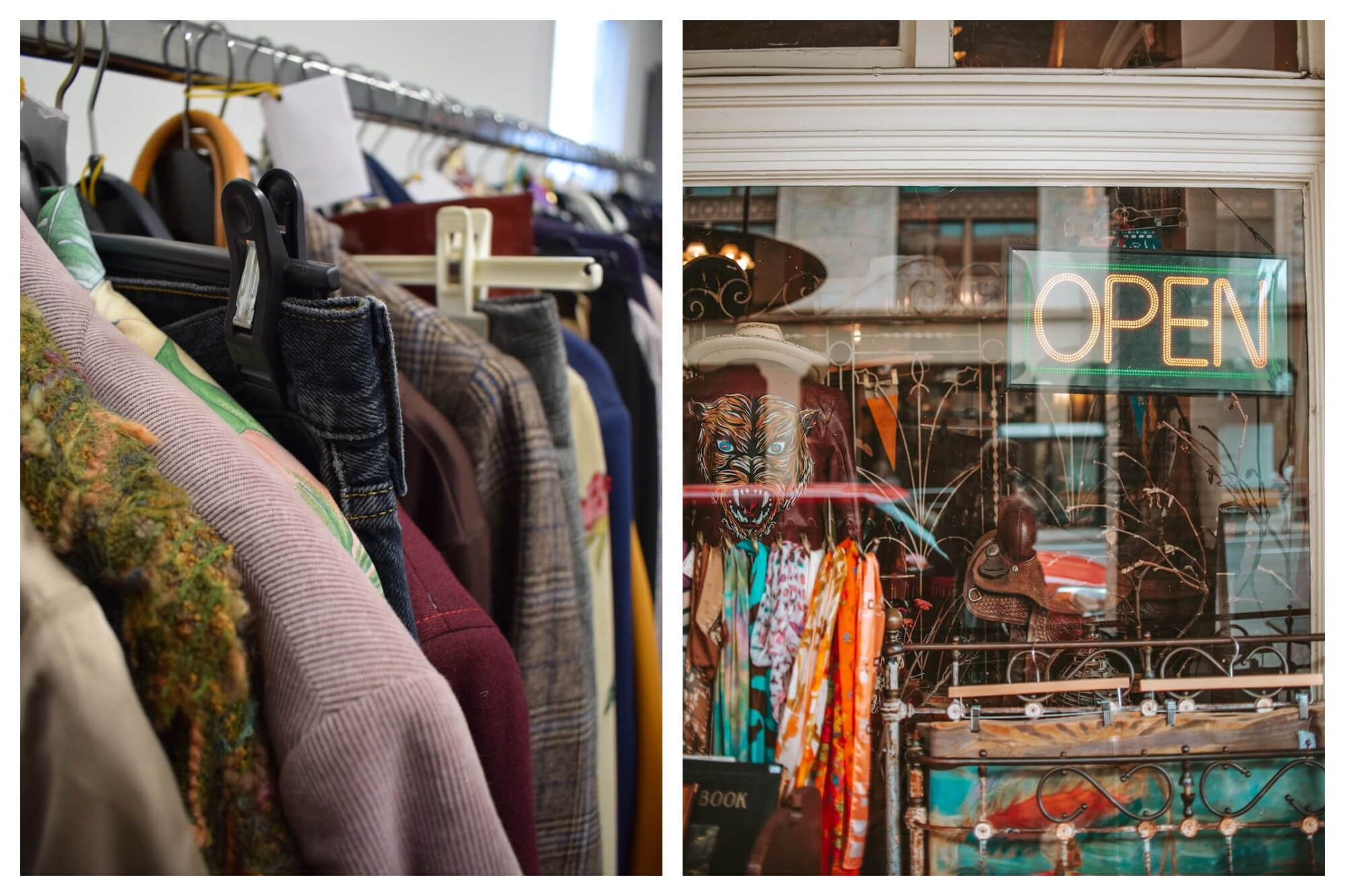 Left: a rack of clothes in a vintage shop.  Right: The outside of a vintage shop, looking through the glass to the interior, featuring eclectic goods.