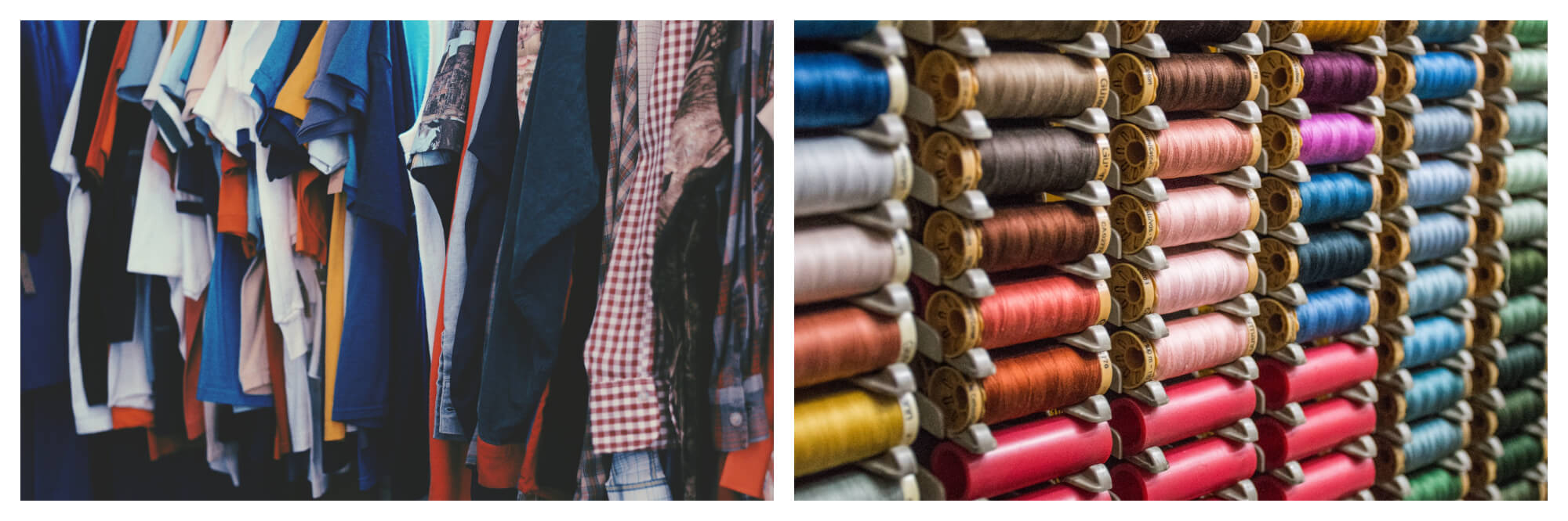Left: a rack full of assorted men's tshirts.  Right: spools of thread in a shop with an assortment of colors.