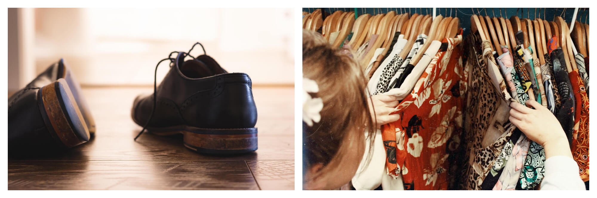 Left: a pair of men's leather brown shoes strewn on a wooden floor  Right: a woman searches a rack full of colourful shirts.