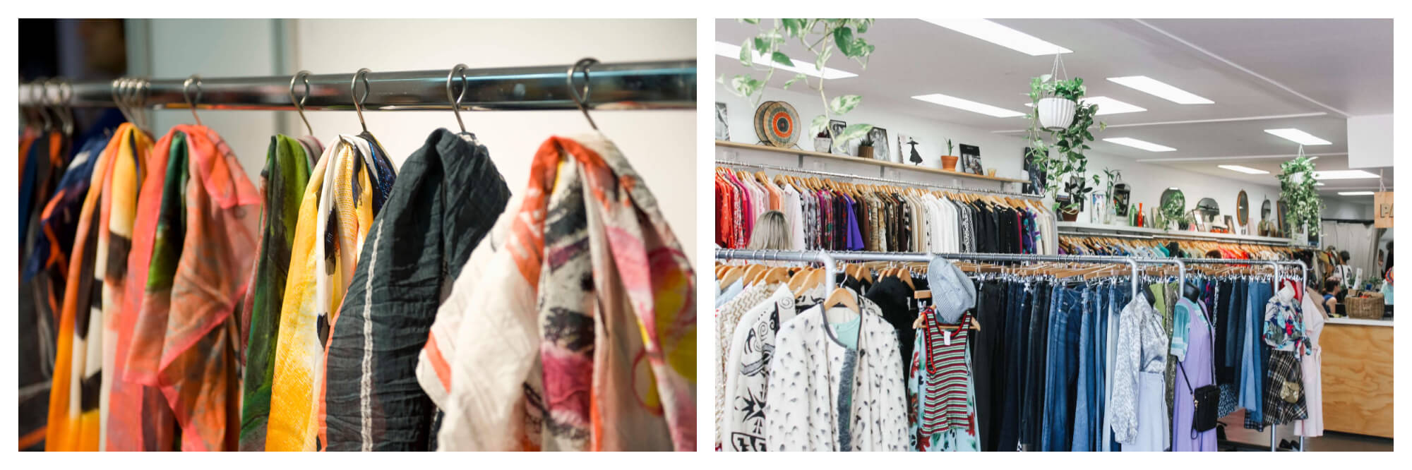 Left: A row of colourful scarves. Right: Interior of a clothing store