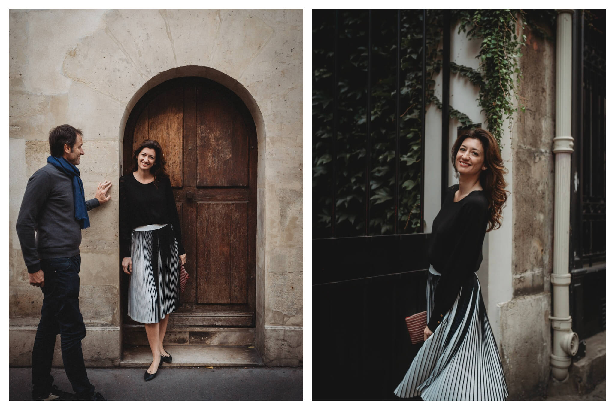 Left: A woman is standing in a small archway, looking directly at the camera and smiling. A man stands closely next to her, smiling at her instead of the camera. Right: A woman stands angled towards the camera, smiling. Her skirt flows as if she has just turned around to face the camera.