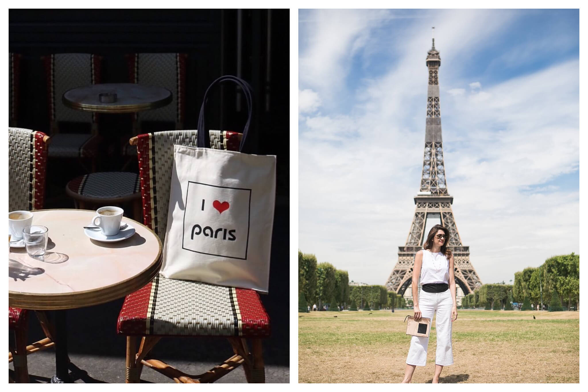 "Left: A small round café table with two coffee cups on it, and two red and white chairs are pictured on a terrace. There is a white canvas tote bag resting on one of the chairs that reads ""I <3 Paris."" Left: A woman stands centered in front of the Eiffel Tower in Champs de Mars."