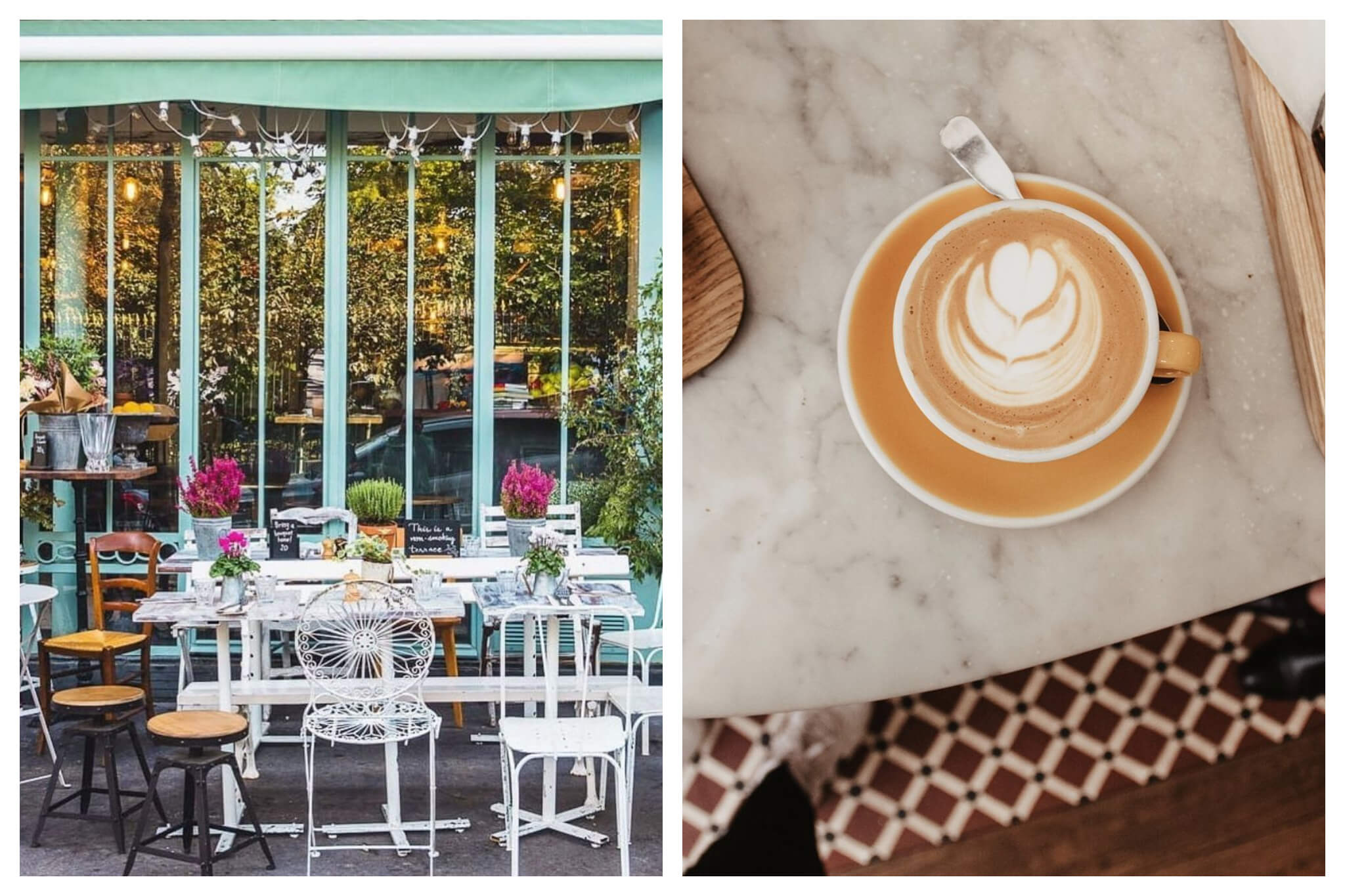 Left: The exterior of a teal and windowed restaurant is shown with the terrace in front. On the terrace there is a white table with various flowers on top, and mismatched chairs around it. Right: A latte with flower art is pictures on top of a marble countertop.