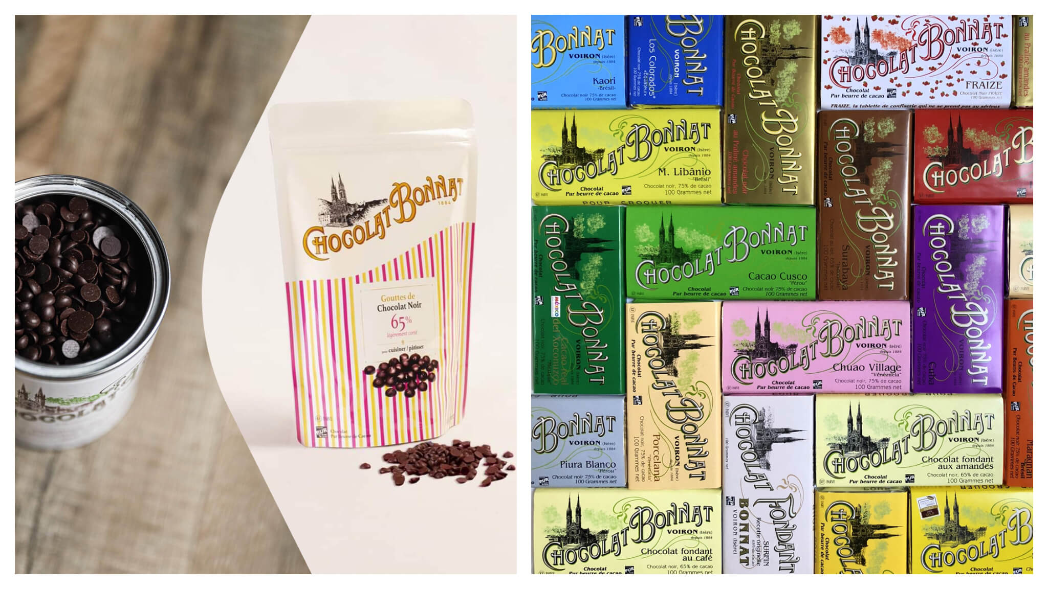 Left: a tin and bag of chocolates by French brand Bonnat. Right: a variety of chocolate bars by Bonnat.