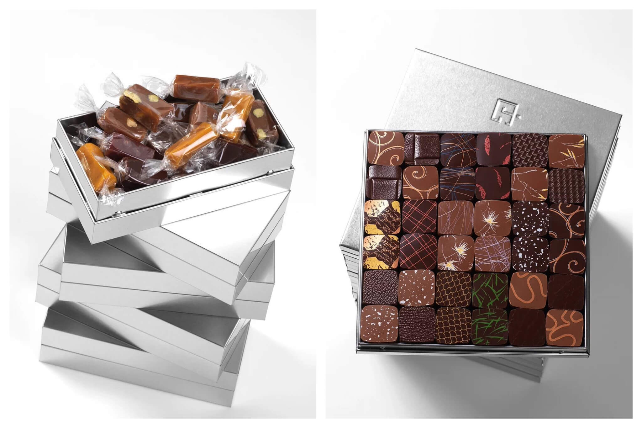 Left: singularly wrapped chocolates in a silver box by Jacques Genin. Right: decorated chocolates in a silver box by Jacques Genin.