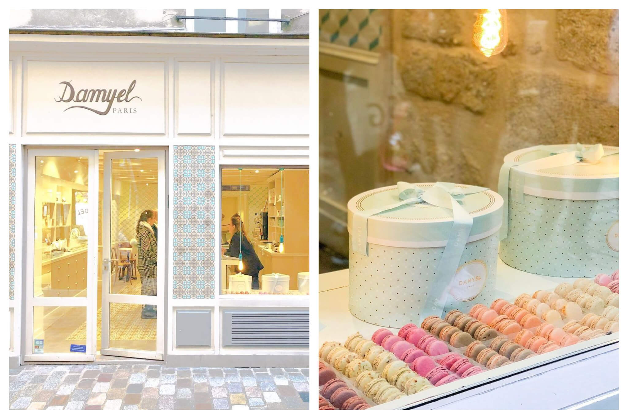 Left: The outside of Damyel in Paris. Right: The window front of Damyel in Paris, with assorted macarons pictured.