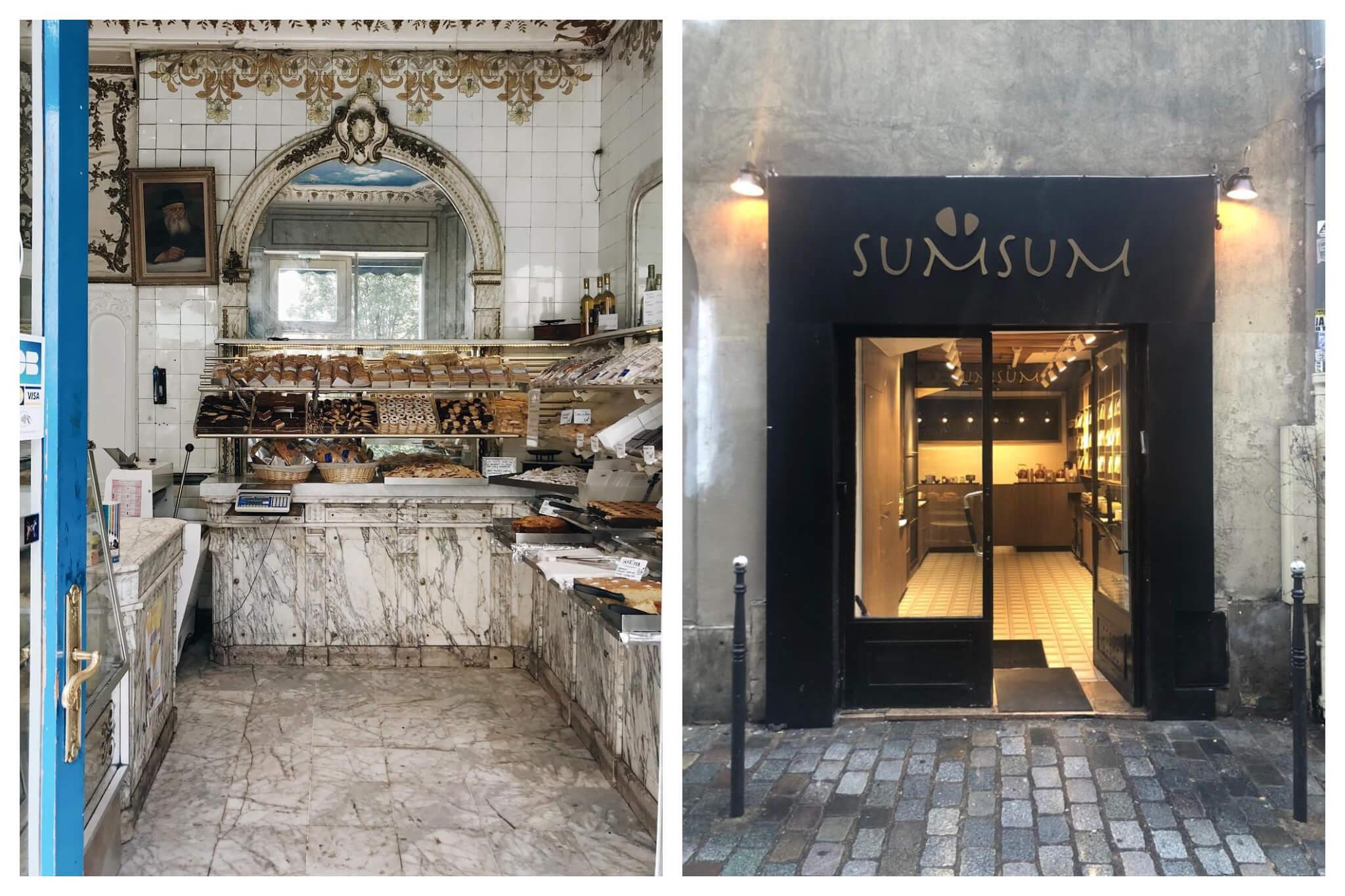 Left: The interior of Boulangerie Murciano in Paris. Right: The exterior of SumSum in Paris.