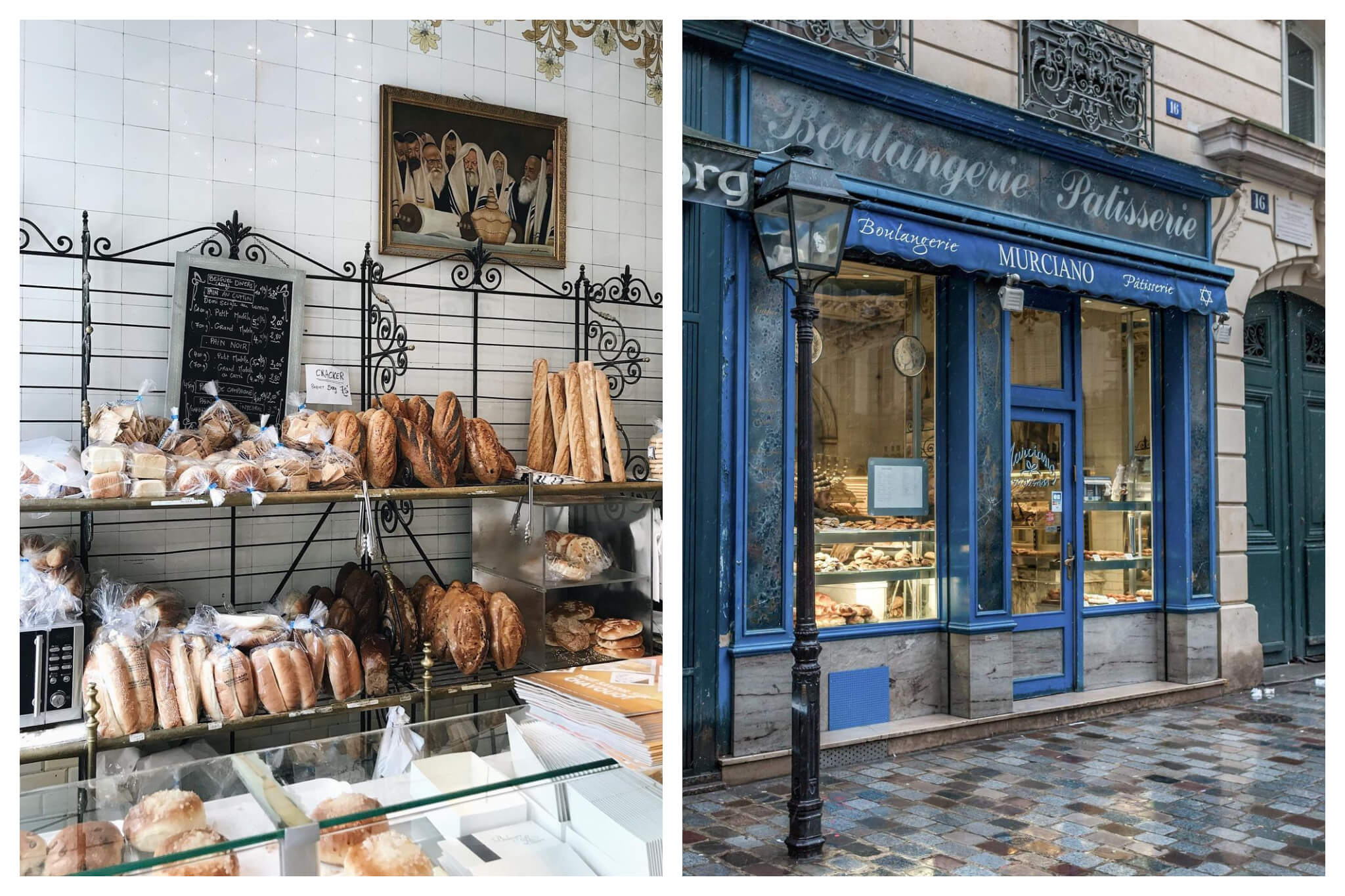 Left: Assorted bread in a bakery. Right: The outside of Boulangerie Murciano in Le Marais.