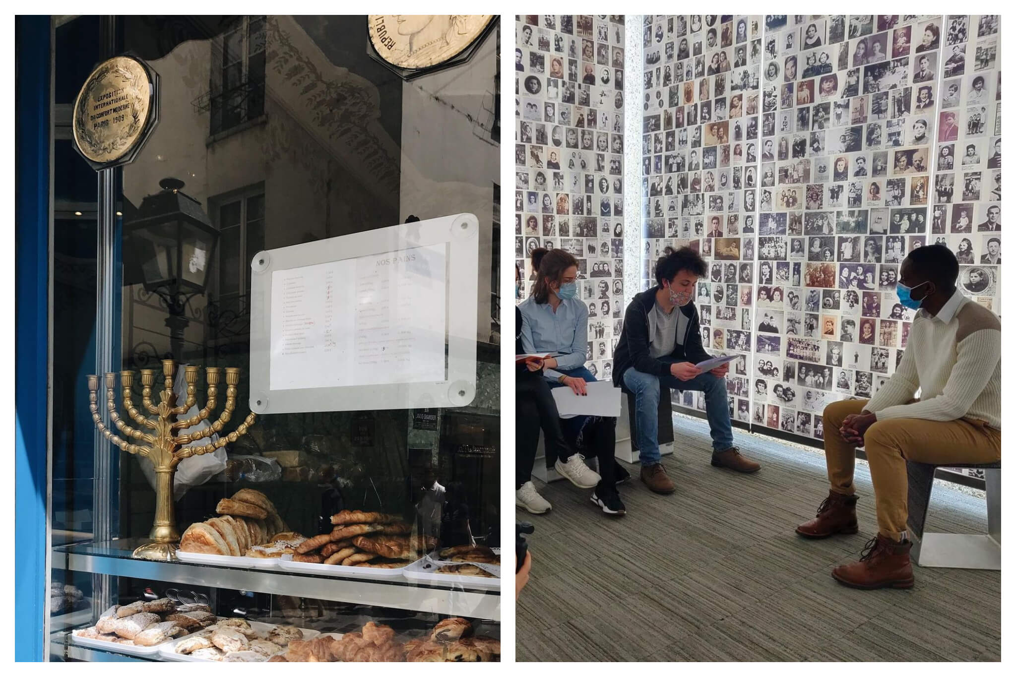 Left: The window of Boulangerie Murciano in Paris. Right: A tour group inside of Memorial Shoah.