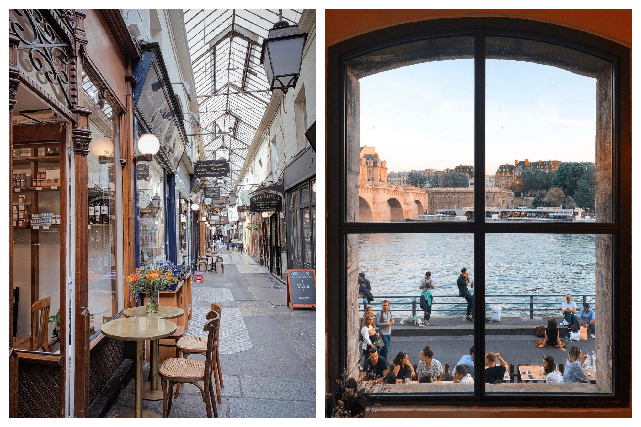 """Left: One of the oldest covered passages in Paris, the """"Passage des Panoramas"""". Right: A picture from the interiors of Maison Maison, a terrace by the Seine. In this photo, customers are seen in their terrace enjoying the view of the Seine and the Pont Neuf bridge."""