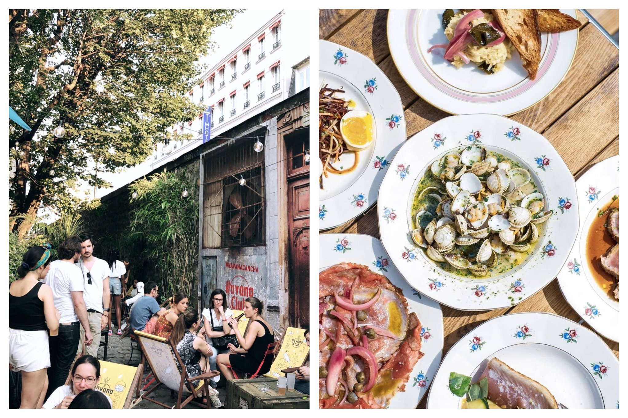 Left: Parisian friends are enjoying their quiet moment in a hidden terrace in Paris called Café A. Right: A plate of different seafood meals you can order from Maison Maison.