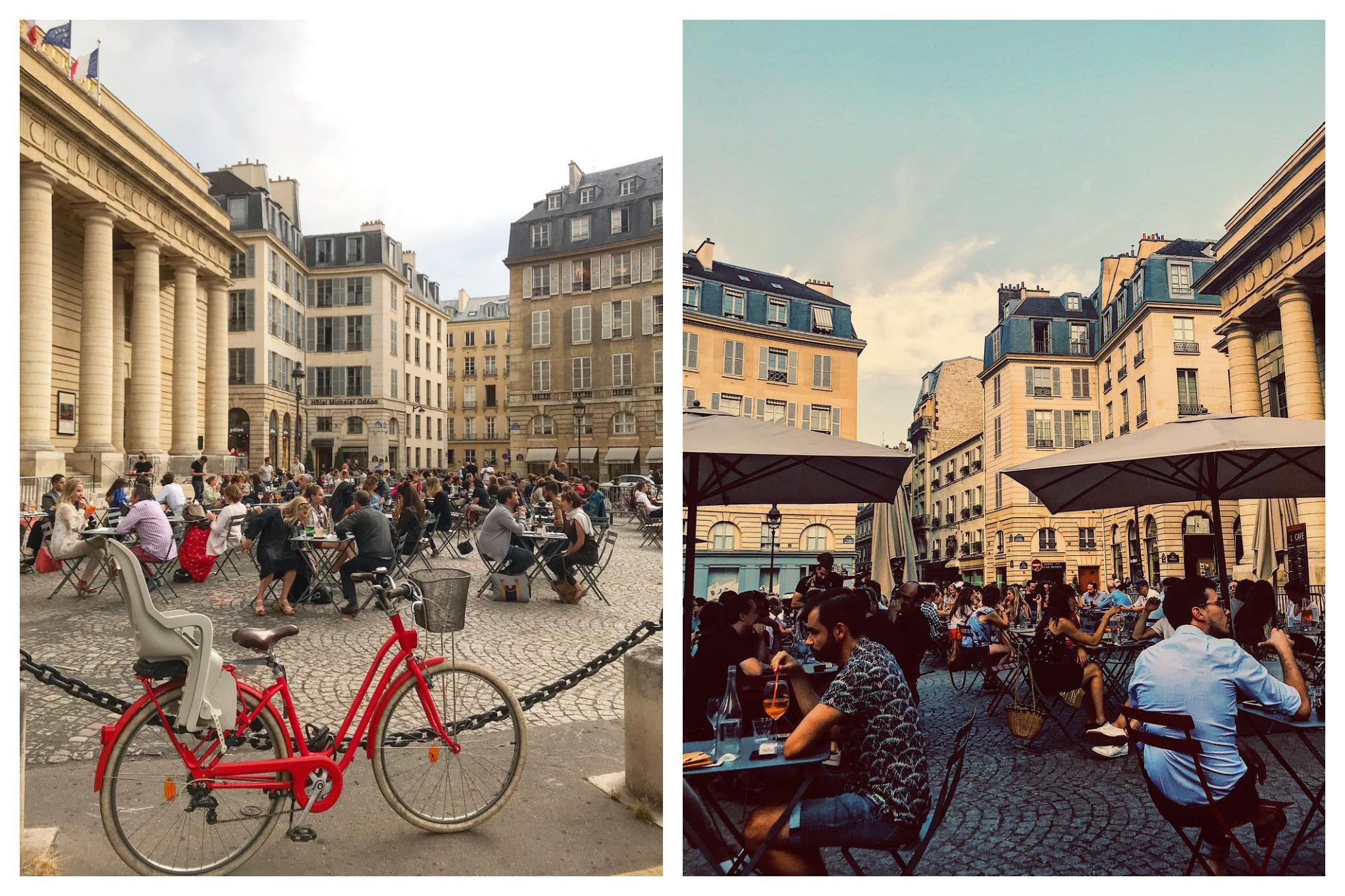 Two pictures from Cafe de l'Odéon which is situated in the Place de l'Odéon, which is right in front of Théatre de l'Odéon. Crowds seated in at least 20 sets of tables and chairs are enjoying their time.