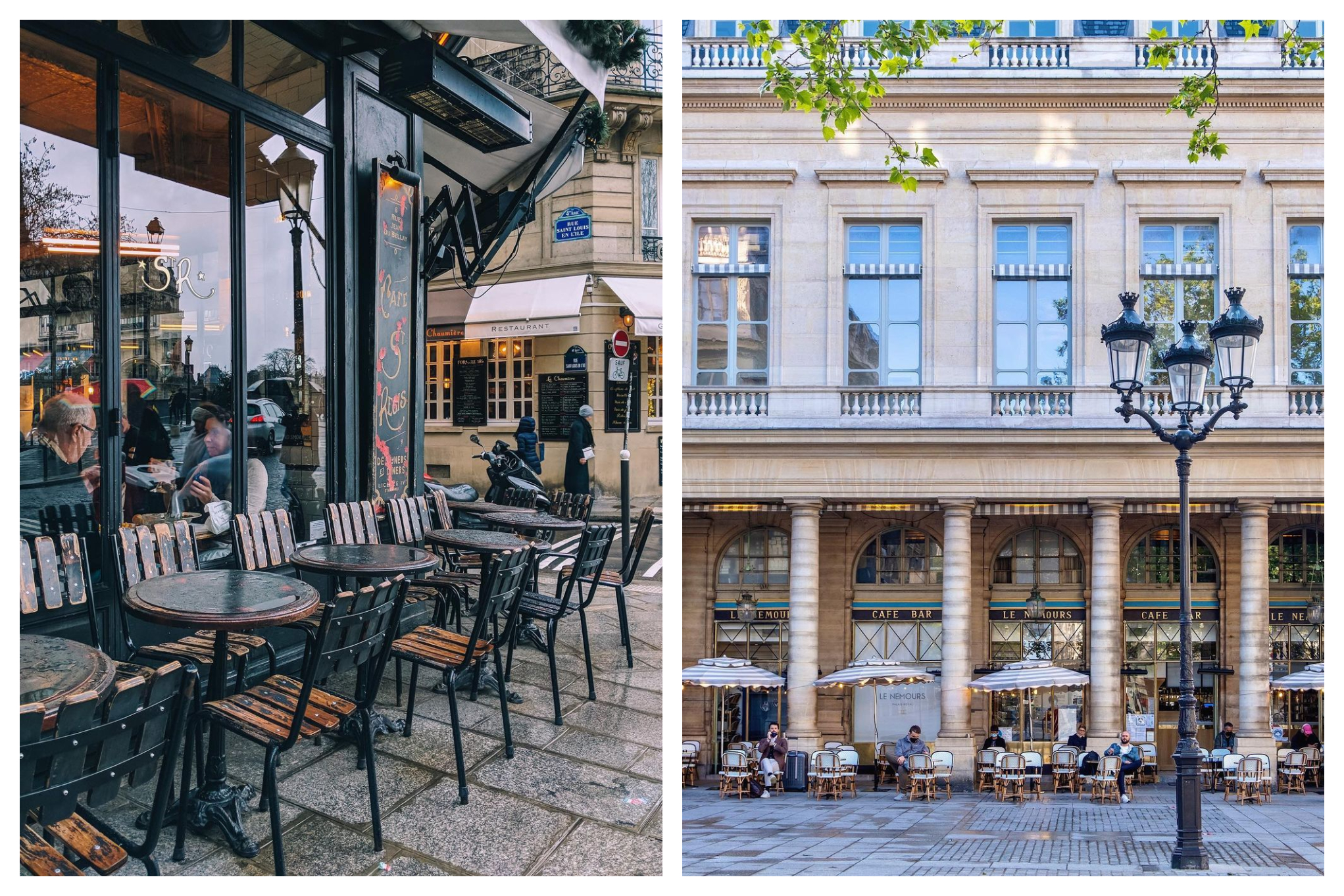 Left: A picture of the iconic Parisian café called Café Saint Regis with its dark green and wooden outdoor terrace chairs and tables. Right: Another iconic Parisian café, Le Nemours, taken from Place de Colette.