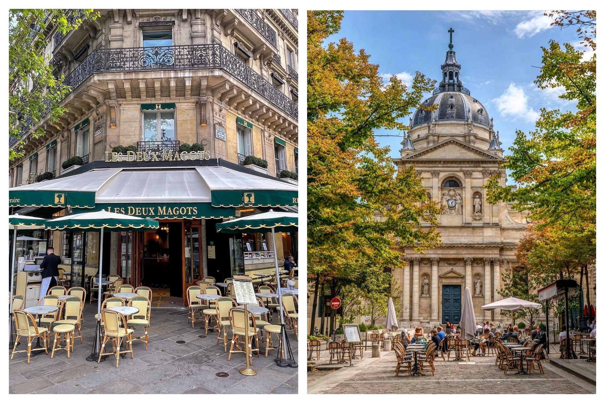"""Left: The iconic café in Saint-Germain-des-Près """"Les Deux Magots"""" with its empty terrace chairs. Right: A photo of an outdoor terrace on Place de la Sorbonne, overlooking the famous dome of La Sorbonne university."""